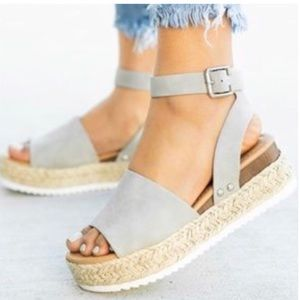 Shoes - 🔥SALE🔥😍⭐️ Espadrille Gray Wedge Flat!